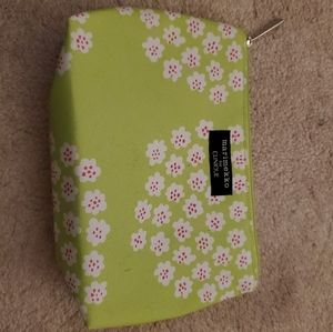 Clinique lime green makeup bag w white floral NEW